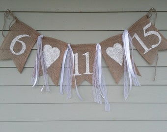 Save the date wedding burlap banner. Bridal shower banner. Made by a stay at home veteran.
