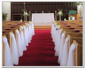 Aisle decorations etsy 10 wedding pew bows tulle wedding aisle decoration made by a work from junglespirit Gallery