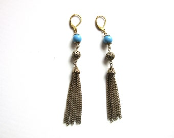 Tassel Earrings Beaded Drop Earrings Vintage