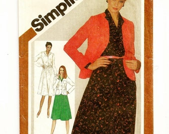 "A Shirtwaist, Flared Skirt Dress w/Collar & Fitted Long Sleeve Cardigan Jacket Pattern for Women: Uncut- Size 12 Bust 34"" • Simplicity 9778"