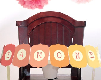 I Am One Printable DIY Highchair Banner Photo Prop INSTANT DOWNLOAD You Are My Sunshine Ombre Collection