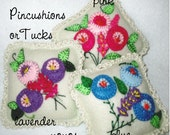 FLORAL TUCKS Bowl Fillers Set of Three Felt Hand Beaded Embroidered with Crocheted Trim Home Décor Gift Pincushion Stocking Stuffer