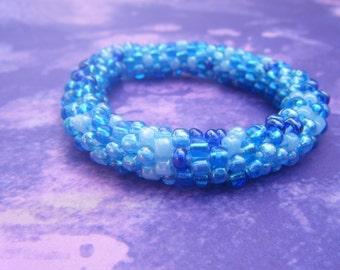 Ocean Blue Bead Crochet Bracelet