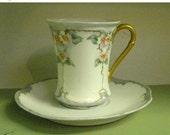 Marvelous May Sale Vintage Edwardian Era Floral Aqua, White Demitasse and Saucer Set, MZ Austria Porcelain