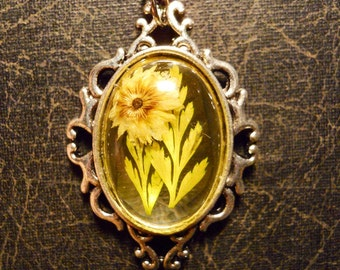 Yellow Pressed Flower Open Back Preserved Specimen Necklace