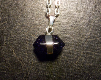 Horizontal Blue Goldstone Double Terminated Universe Crystal Wand Necklace