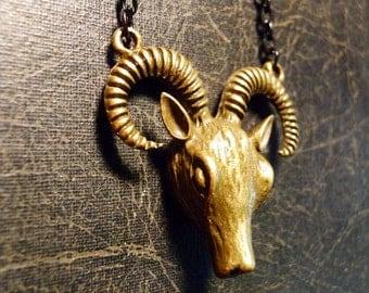 Tiny Ram Goat Head Big Horn Trophy Necklace