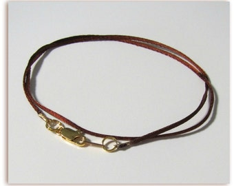 14 to 24 inch Copper Necklace Cord, Satinique Cord, Pendant Cord, 1 mm Cord Satin Jewelry Cord, Gold, Silver, Antique Brass Lobster Custom