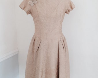 One Off 1950s Occasion Wear Vintage Gold Brocade Cocktail Dress with Mink Butterfly Brooch