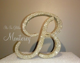 3D Monogram wedding cake topper, 4 inch Glitter BLING , vintage wedding cake toppers,  custom cake toppers