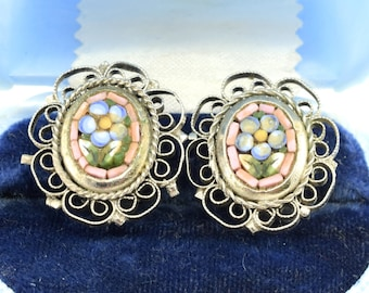 Vintage Mosaic Tile Filigree Clip Earrings ~ Lot 9380