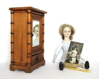 "Delightful French Vintage ""Faux Bamboo"" doll armoire, straight out of the 1920s"