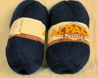 Peruvian Perlita Lace Alpaca (Misti Alpaca Lace) worsted yarn 100g in blue