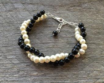 Ivory Black Pearl Bracelet Bridal Bracelet Twisted Clusters on Silver Chain