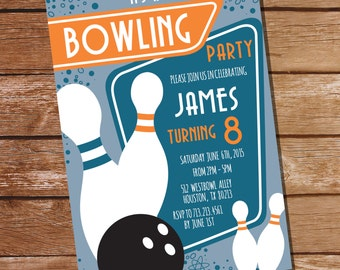Retro Bowling Party Invitation - Bowling Birthday Invitation - Instant Download and Editable File - Personalize at home with Adobe Reader