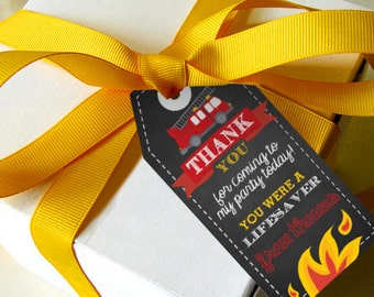 Chalkboard Fireman / Firefighter Party Decoration Favor Tags - Fireman Party Decorations - Instant Download and Edit at home