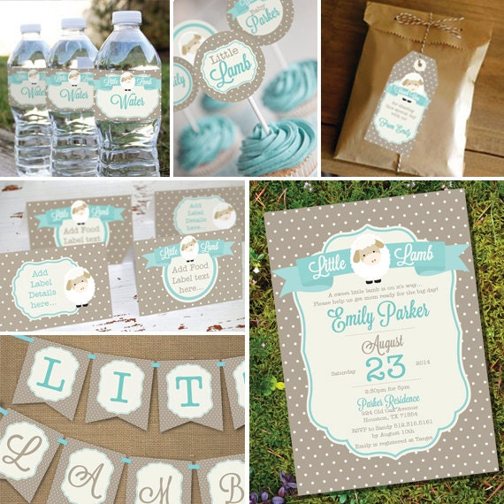 Little Lamb Baby Shower Printable Party Set Lamb Baby Shower