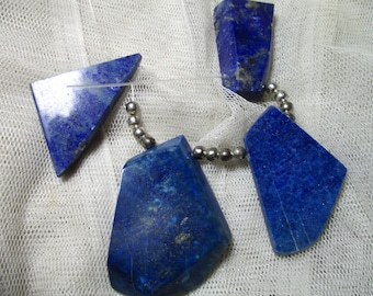 WoW  4 pc BIG 35-40 MM Top Grade 100% Natural Polished  Pendent Bead Lapis Lazuli with Pyrite Afghanistan  L44