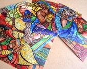 Set of Art Print Postcards, Five Glossy Prints, Nature, Sisters, Goddess Art,Caribbean Art, watercolor, illustration, Women