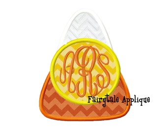 Digital Machine Embroidery Design - Candy Corn with Monogram Applique
