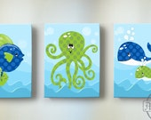 Boy Babedroom Canvas Art - Nautical Bathroom Art - Nautical Wall Art - Whale Nursery Art - Fish Wall Art - Octopus Canvas Art