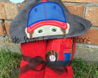 Base Ball Player Hooded Towel