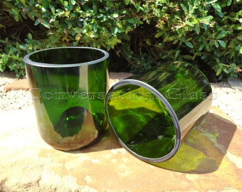 Champagne Bottle Glasses in Emerald Green Set of 2
