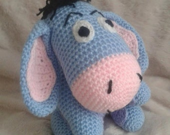 Crochet Donkey in the image of Eeyore/amigurumi/plushie/stuffed toy-amigurumi donkey eeyore lookalike