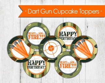 Dart Gun Cupcake Toppers - Instant Download