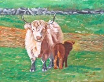 Scottish Highlander and Calf: Print of an Original Oil Painting