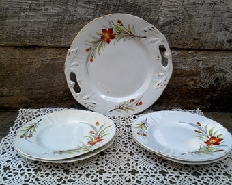 SET OF 5 Floral Dinnerware Set, Cake Plate and 4 Side Plates, Red Poppies, Scalloped, Gold Trim, UnMarked, Fine China, Birthday Celebration