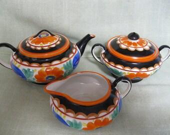 Mrazek Czech Peasant Pottery, Early Black Bird Mark, Teapot, Creamer, and Sugar Bowl,