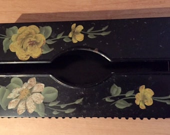 Vintage Black Metal Painted Flower Tissue Box Wall Hanging Tole Ware Shabby Chic