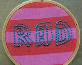 Rad/hand-embroidered hoop art/embroidery wall art