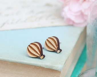 Laser Cut Wooden Hot Air Balloon Stud Earrings