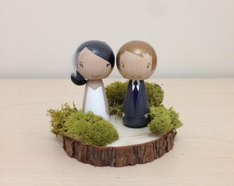 Little Wishes: Kokeshi Wedding Cake Topper w/ Bark Base & Moss