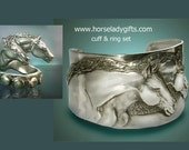 Two Horse Cuff & Ring Set
