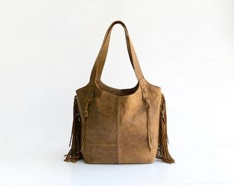 Brown leather bag - Finge Purse - Brown bag - Bohemian bag - Oversized bag - Women handbag
