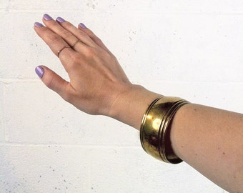 VINTAGE Minimal Brass Bangle // Chunky Bracelet