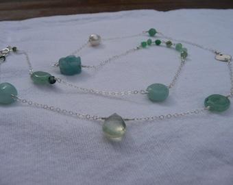 Mixed semi precious gemstone sea spray long necklace in sterling silver