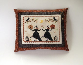 Completed primitive cross stitch Hallows Eve Dance pillow / Halloween decoration