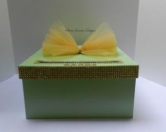 Mint Green Gold Bling Wedding Card Box Diamond Mesh Ribbon Baby Shower Sweet 16 Birthday