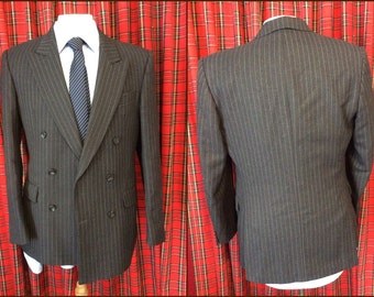 Grey pinstripe wool George Arthur Dunn mens double breasted 2 piece suit 2on4 38 R slim fitting dual vent