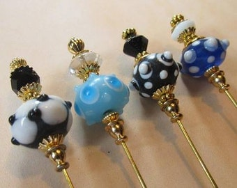 4 Diff Hatpins 3 inches long Glass LAMPWORK Beads Vintage, Lapel Style...We sell hat stick pin blanks,make your own,findings supplies...S27