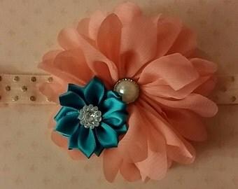 Shabby chic headband ,Coral Headband, Vintage Headband, Baby Headband, Turquoise Headband, Flower Headband, Girl Headband, Baby Bows