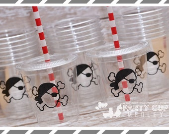 Pirate Birthday Party, Set of 8 or 12 You Choose Party Cups, Favor Cups or Reusable Souvenir Cup