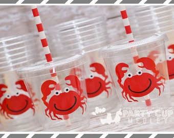 Crab Birthday Party, Set of 8 or 12 You Choose Party Cups, Favor Cups or Reusable Souvenir Cup