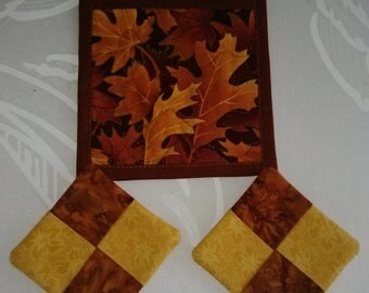 AUTUMN,  FALL Coasters( 2 )and Mug Mat ,  Reversible 100  Cotton, Handmade,Quited