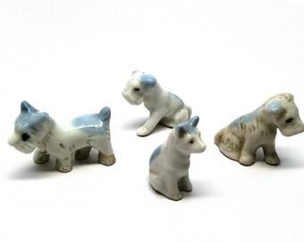 Vintage Dog Figurines, Cat, Set of 4, Blue and White, Miniature, Dollhouse, Japan, 1950