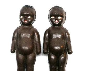 Kewpie Doll, Black Americana, Celluloid, 2 dolls, 2.5 inches,